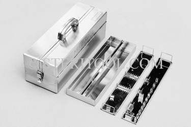 "#20224 - 14"" Stainless Steel Tool Box with Trays. tool box, stainless steel, tote, chest, storage, portable"