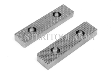 "#10004 - 4"" Serrated SS Jaws for 4"" Bench Vise #10001 (pair). vise, clamp, work holding, stainless steel, fabrication"