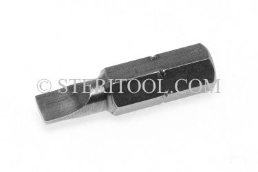 "#11314 - 1/4"" Parallel (slot) Screwdriver x 1""(25mm) OAL Stainless Steel Bit for Bit Holders. hex bit, bit holder, stainless steel"