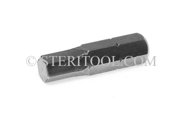 "#11357 - 3.0mm Hex x 1""(25mm) OAL Stainless Steel Bit for Bit Holders. hex bit, bit holder, stainless steel"