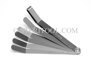 "#99009 - Metric Offset Stainless Steel Feeler Gauge Set. 1/2""(12.7mm) x 6""(150mm) Blades with locknut and handle. stainless steel, feeler, gauge"