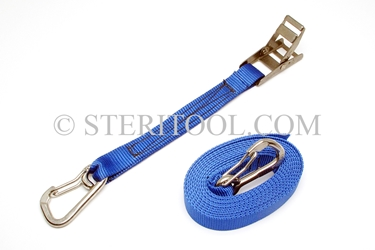 "#10406P - 1"" Stainless Steel Overcenter Tie Down with 16"" of Poly Webbing & Hooks. tiedown, tie-down, tie down, webbing, strapping, rigging, stainless steel"