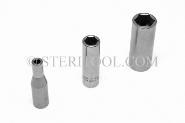 "#10600 - 1/4"" x 3/8 DR Stainless Steel Deep Socket. 3/8 dr, 3/8dr, 3/8-dr, deep, stainless steel, socket"