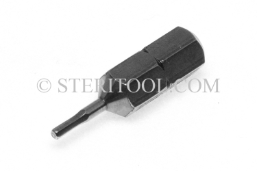 "#11350 - 1.0mm Hex x 1""(25mm) OAL Stainless Steel Bit for Bit Holders. hex bit, bit holder, stainless steel"