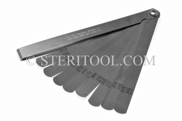 "#99003 - 23 pc Stainless Steel Feeler Gauge Inch Set. 6""(150mm) in Fold Out SS Frame. stainless steel, feeler, gauge"