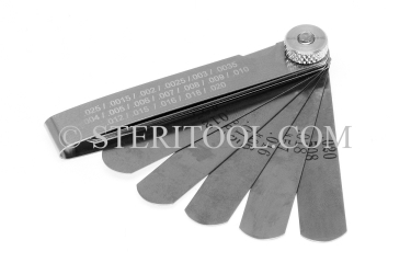 "#99007 - 18 pc Stainless Steel Feeler Gauge Set Inch Set. 3""(75mm) in Fold out SS Frame. stainless steel, feeler, gauge"